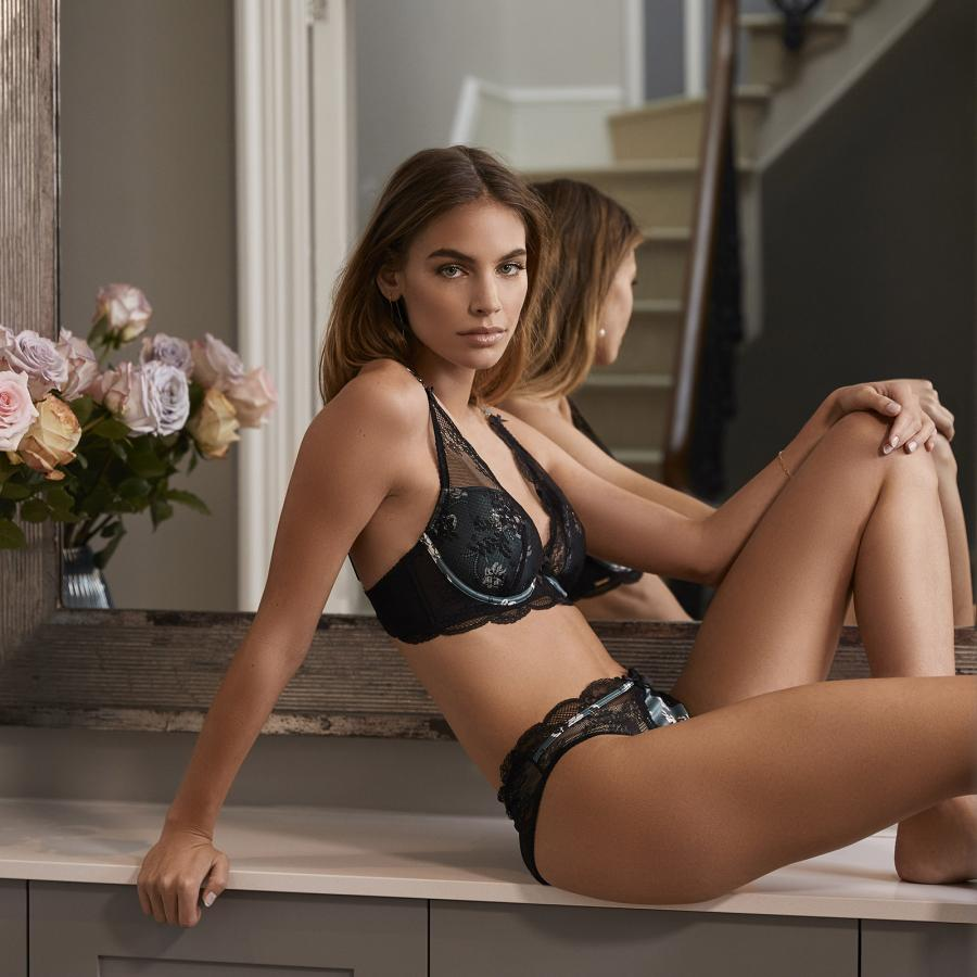Boux Avenue lingerie in black bra and knickers