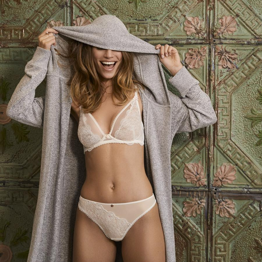 Boux Avenue model lingerie and hooded jacket