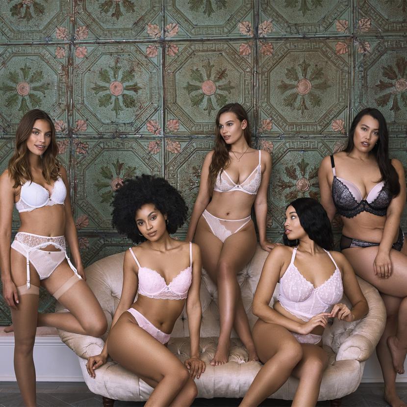 Boux Avenue lingerie models in light pink