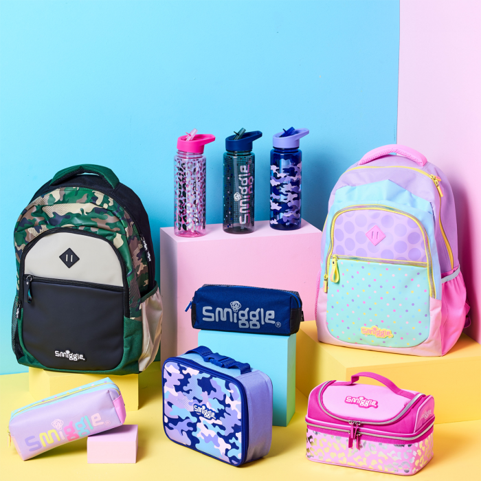 Image of rucksacks and accessories from new Block collection at Smiggle