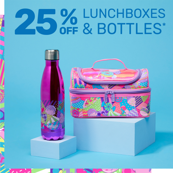 Lunchbox and drinking bottle from Smiggle